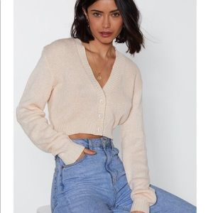Button Cropped Cardigan Sweater